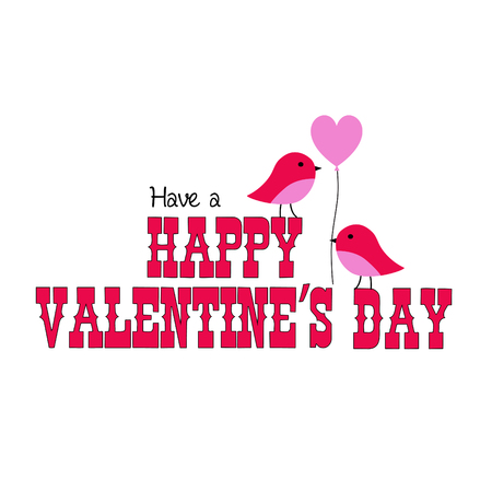valentines day graphic with cute birds and balloon