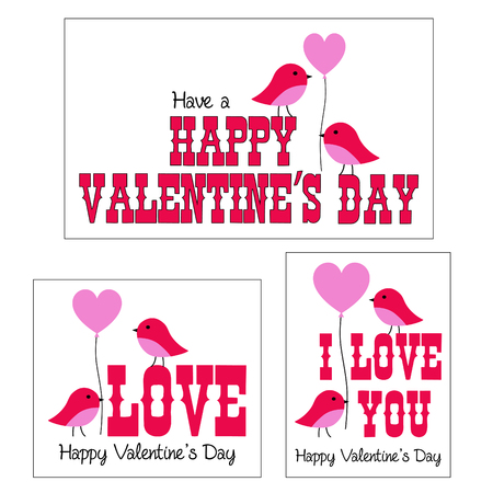 Valentines day vector graphics with cute birds and balloons