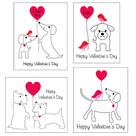 valentines day vector graphics with cute dogs and balloons