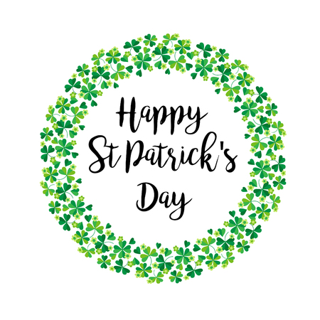 Happy Saint Patricks Day in shamrock wreath vector graphic Çizim