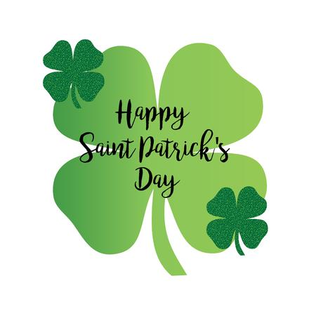 Happy Saint Patricks day calligraphy graphic with glitter shamrocks