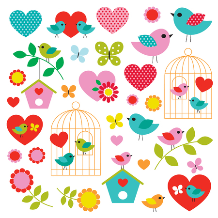bird valentines day vector clipart Çizim