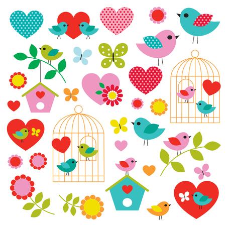 bird valentines day vector clipart Stock Illustratie