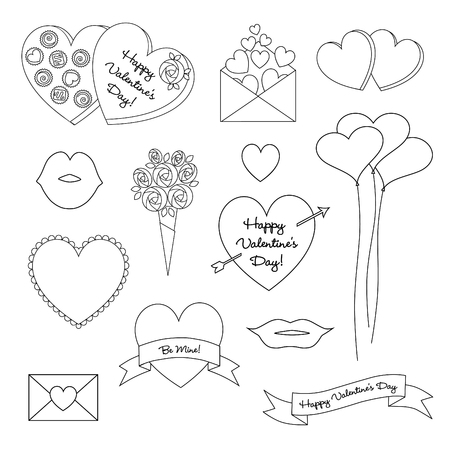 black outline valentines day vector clipart