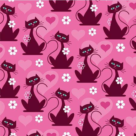 mod cat pattern vector background pattern
