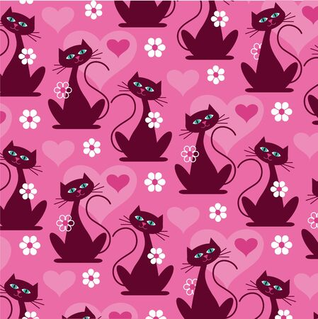mod cat pattern vector background pattern
