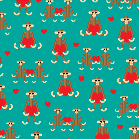 wooden monkey background pattern with hearts