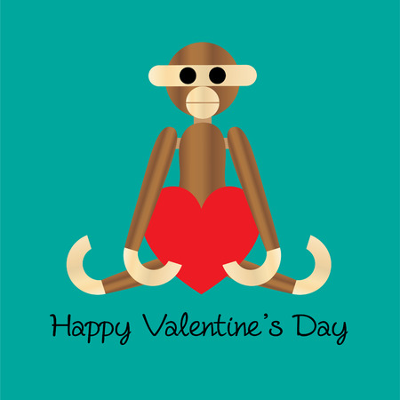 wooden monkey valentine with heart vector graphic Stock Illustratie
