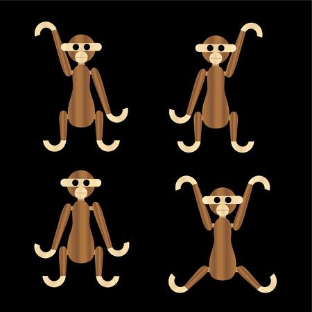 wooden monkeys vector icons
