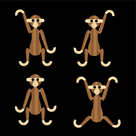wooden monkeys vector icons