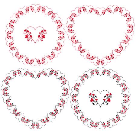 heart and vine frames vector clipart Stock Illustratie