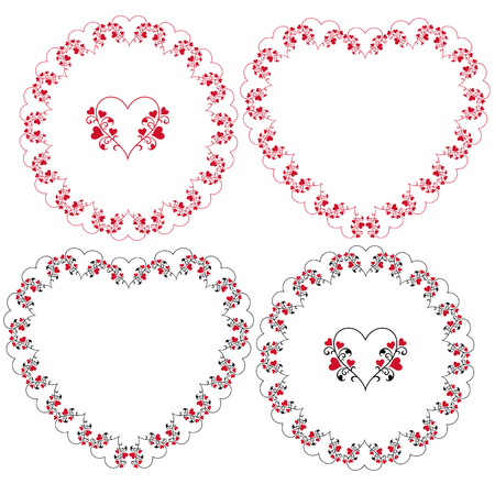 heart and vine frames vector clipart Çizim