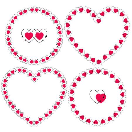 heart with arrow frames vector clipart