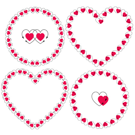 heart with arrow frames vector clipart
