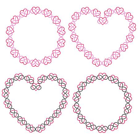 interlocking heart frames vector clipart