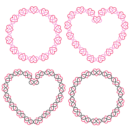 interlocking heart frames vector clipart