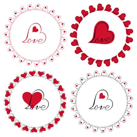 love heart circle frames vector clipart