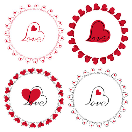 love heart circle frames vector clipart