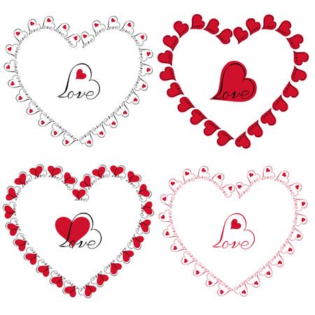 love heart frames vector clipart Stock Illustratie