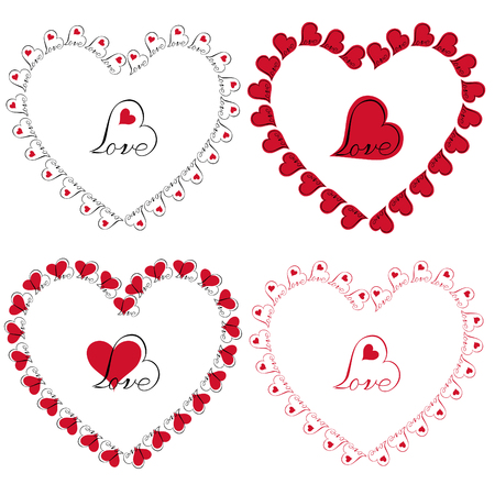 love heart frames vector clipart Çizim