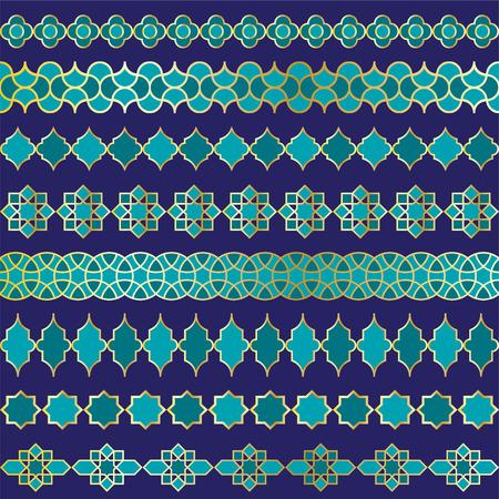 blue Moroccan vector border patterns Stock Illustratie
