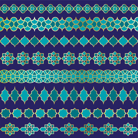 blue Moroccan vector border patterns Çizim