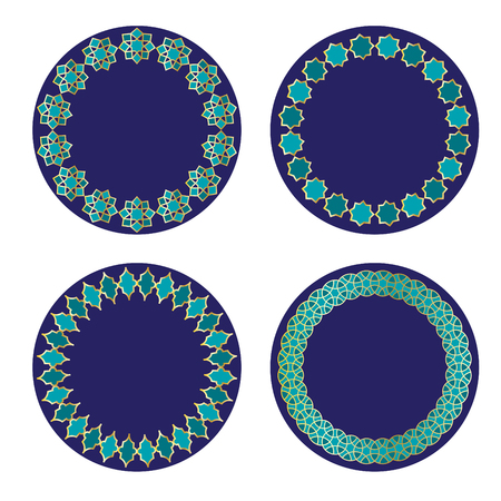 Blue and gold Moroccan circle frames.