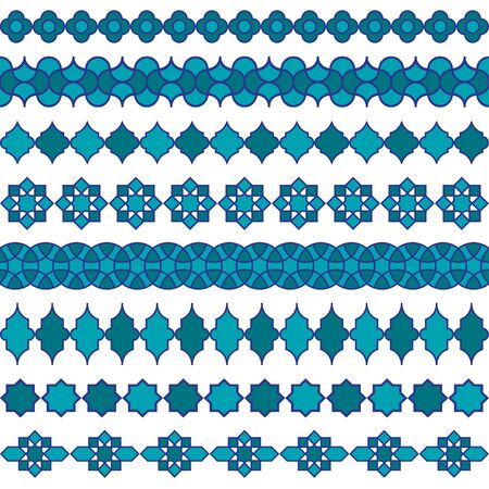 Blue Moroccan vector border patterns. Stock Illustratie