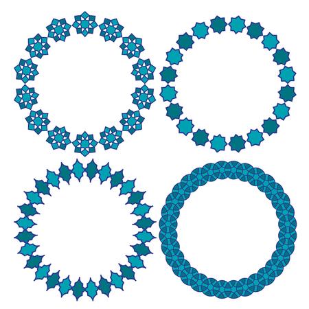 blue Moroccan circle vector frames 向量圖像