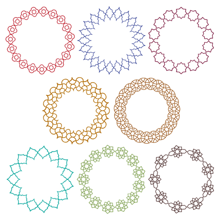 colorful Moroccan vector circle frames Çizim