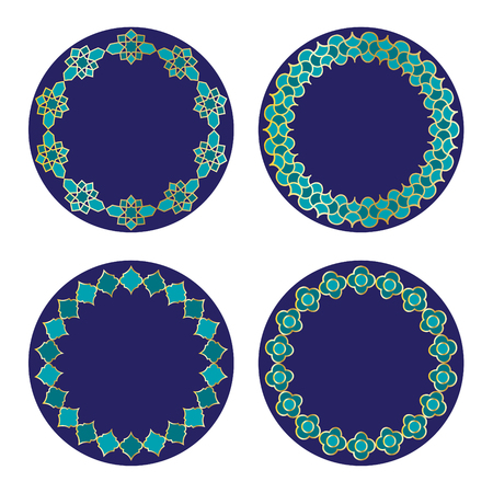 Gold blue Moroccan vector circle frames.
