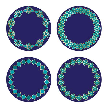 Gold blue Moroccan vector circle frames.