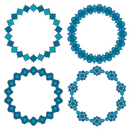 Moroccan blue circle vector frames.