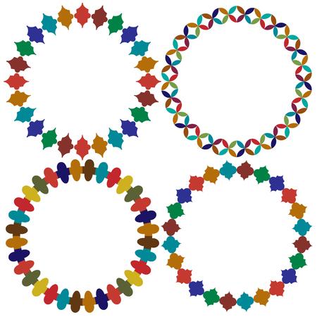 circular Moroccan tile frames vector graphics