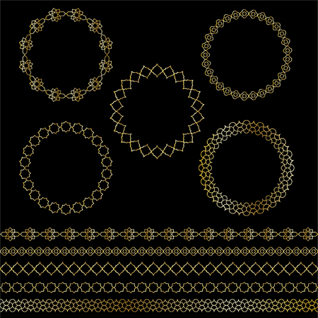 gold Moroccan frames and borders vector graphics