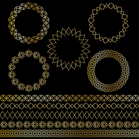 golden Moroccan frames and borders vector clipart Çizim