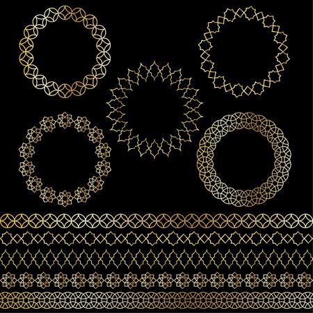 golden Moroccan frames and borders vector clipart Stock Illustratie
