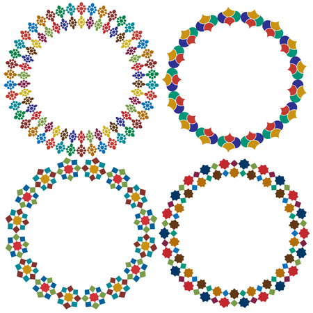 Moroccan tile circle frames vector graphics
