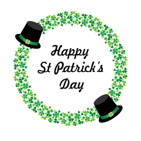 Happy Saint Patricks day graphic with hats and circle shamrock frame Çizim