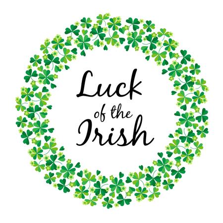 Luck of the Irish in shamrock circle frame
