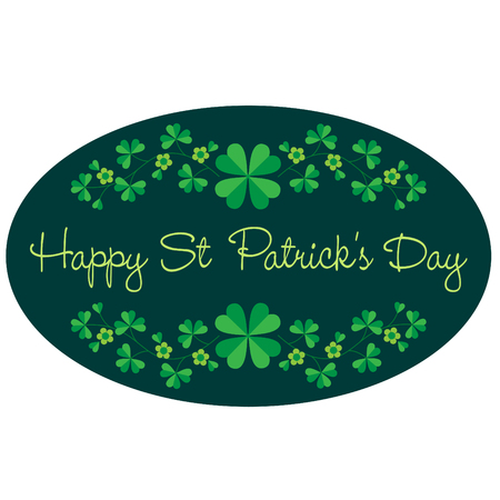 Saint Patricks Day graphic oval frame with border pattern