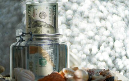 Bank with money dollar and seashells on a silver background. blurred focus.
