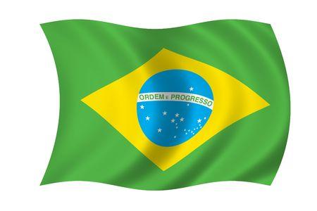 Brazil Wave Flag Stock Photo