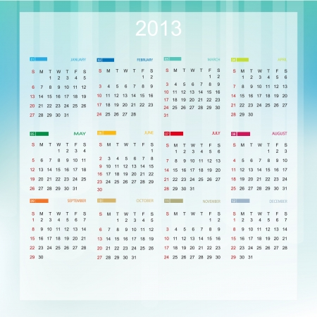 Calendar 2013 (week starts with sunday) Stock Vector - 15292087