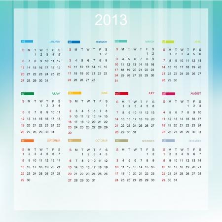 Calendar 2013 (week starts with sunday) Stock Vector - 15292087