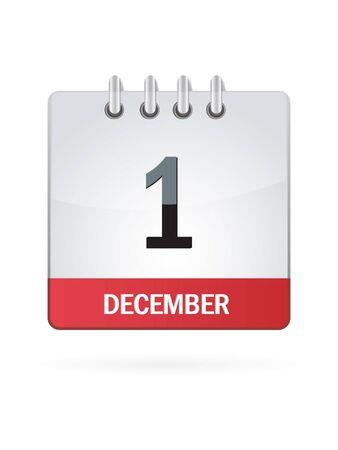 calendario diciembre: Uno En diciembre Calendar Icon Sobre Fondo Blanco.