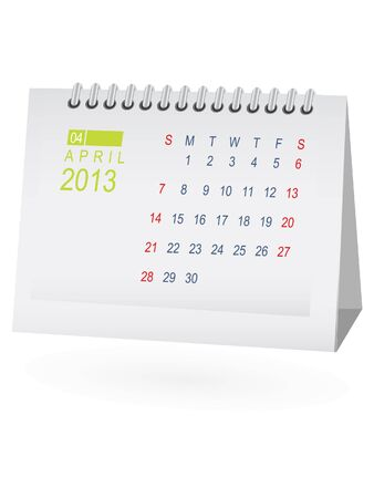 April 2013 Desk Calendar Vector