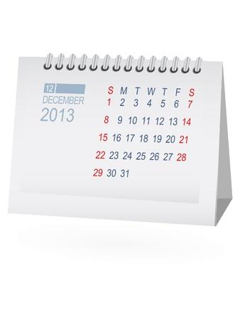 December 2013 Desk Calendar Vector