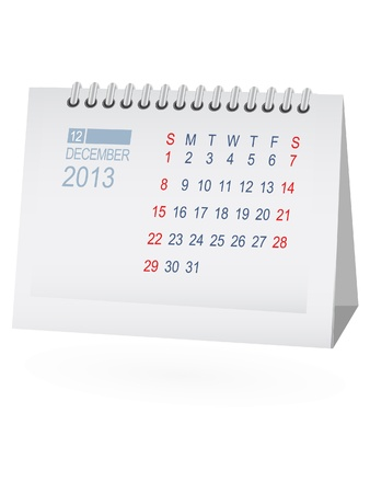 December 2013 Desk Calendar Stock Vector - 15292083