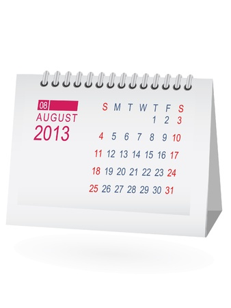 August 2013 Desk Calendar Stock Vector - 15292074